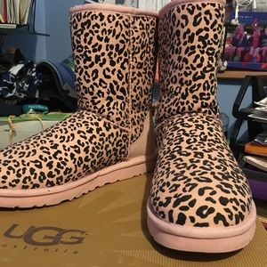 UGG Shoes - Pink Cheetah Print Uggs Size 8